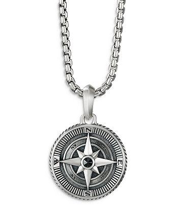 David Yurman - Men's Sterling Silver Maritime Compass Amulet with Black Diamond