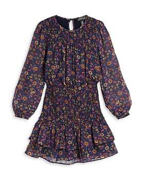 AQUA - Girls' Long Sleeve Smocked Metallic Floral Dress, Big Kid