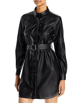 FRENCH CONNECTION - Patti Faux Leather Shirt Dress