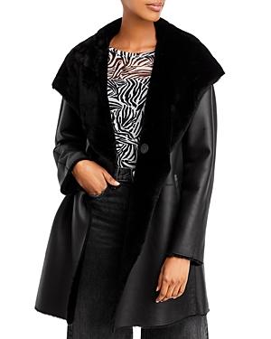 Baylie Reversible Hooded Shearling Coat