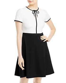 KARL LAGERFELD PARIS - Scuba Crepe Fit-and-Flare Dress