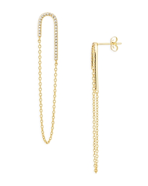 Pave and Chain Loop Drop Earrings