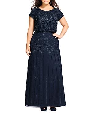 Short Sleeve Beaded Gown