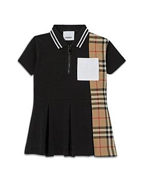 Burberry - Girls' Check Panel Cotton Pique Polo Shirt Dress - Baby