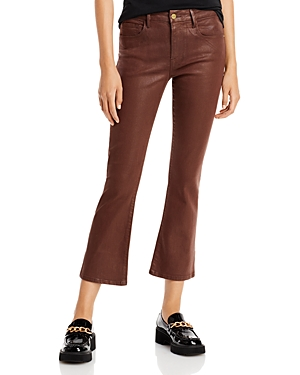 Frame Le Crop Mini Coated Bootcut Jeans in Mahogany