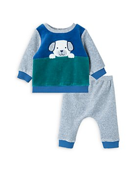Little Me - Boys' Puppy Velour Sweatshirt & Pants Set - Baby