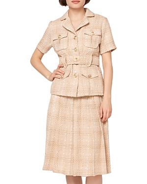 Tweed Pleats Tennis Midi Skirt (43% off)