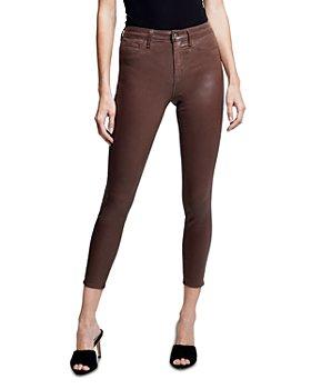 L'AGENCE - Margot High Rise Skinny Jeans in Dark Mocha Coated