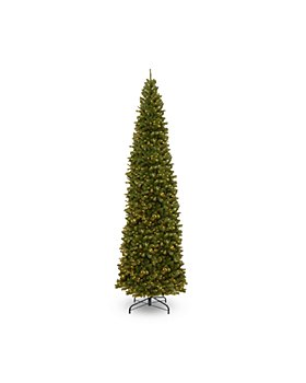 National Tree Company - North Valley Spruce Pencil Slim Tree with Clear Lights