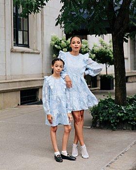 AQUA - Mommy & Me Floral Appliqué Ruffled Dress