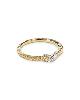David Yurman - 18K Yellow Gold Petite X Ring with Diamonds