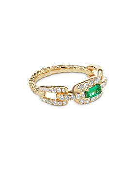 David Yurman - Stax Chain Link Ring in 18K Yellow Gold with Pavé Diamonds and Emerald