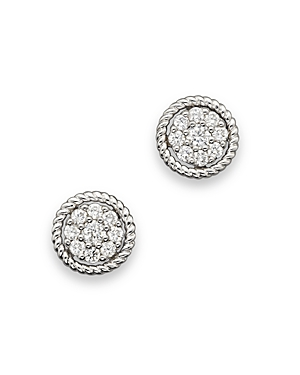 Diamond Cluster Earrings Set In 14K White Gold, 0.30 ct. t.w. - 100% Exclusive