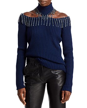 CHRISTOPHER KANE - Cupchain Fringe Trim Turtleneck Sweater