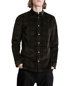 ALLSAINTS - Seward Cotton Blend Corduroy Yarn Dyed Check Slim Fit Button.Down Shirt