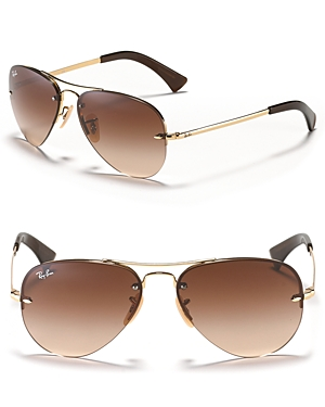 Ray-Ban Rimless Aviator Sunglasses, 59mm