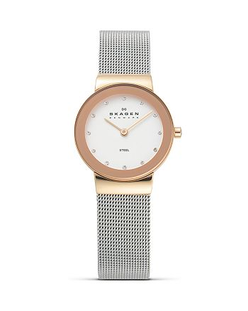 Skagen - Silver and Rose Gold Mesh Watch, 26mm