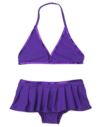 AQUA - Girls' Triangle Top & Skirted Bottoms with Sequined Trim, Little Kid - 100% Exclusive
