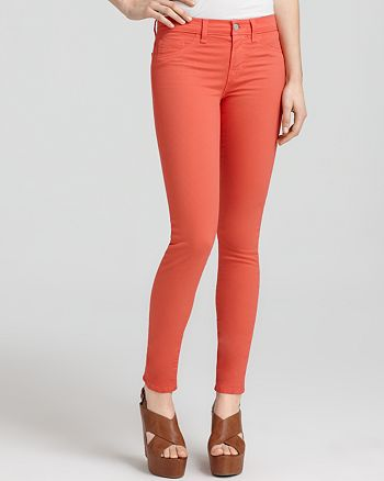 J Brand - Jeans - Mid Rise Luxe Twill Skinny Jeans in Tangerine