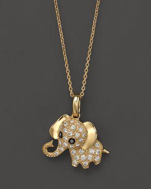 Diamond Elephant Pendant Necklace in 14K Yellow Gold, .20 ct. t.w, 16.5