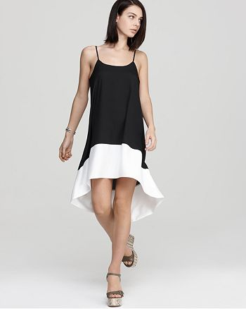 AQUA - Color Block Crepe Slip Dress - 100% Exclusive
