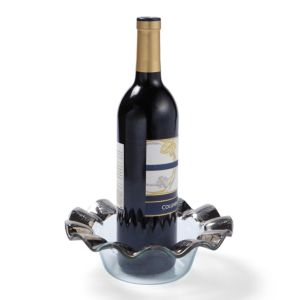 Annieglass Ruffle Platinum Wine Coaster