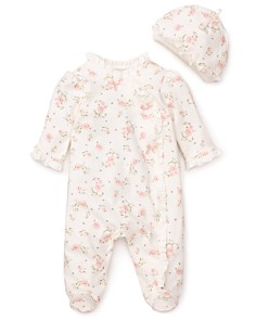 Little Me - Girls' Vintage Rose Footie & Cap - Baby