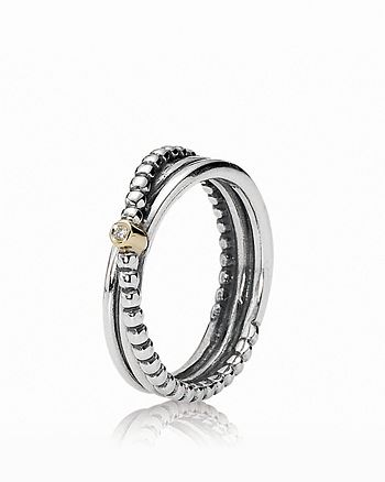 Pandora - Ring - Diamond, 14K Gold & Sterling Silver Kerry's Small, 0.01 ct. t.w.