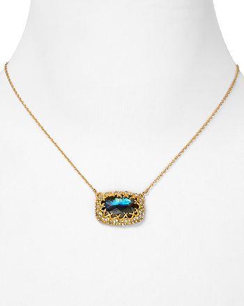"Alexis Bittar - Elements Siyabona Fern Gold Labradorite Cushion Pendant Necklace, 16"""