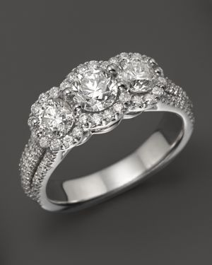 Halo Diamond 3-Stone Ring in 14K White Gold, 2.0 ct. t.w. - 100% Exclusive