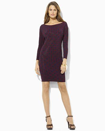 Ralph Lauren - Lauren by Ralph Lauren Dress Geometric Print Long Sleeve Dress