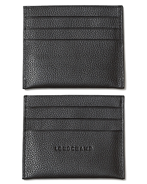 Lomchamp\\\'s compact pebbled leather card holder is a refined choice for keeping your key items close at hand.