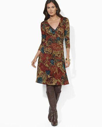 Ralph Lauren - Three Quarter Sleeve Faux Wrap Dress