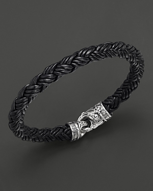 Scott Kay Men's Black Leather Equestrian Bracelet, Small