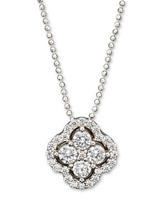 Bloomingdale's - Diamond Cluster Pendant Necklace in 14K White Gold, .75 ct. t.w.- 100% Exclusive