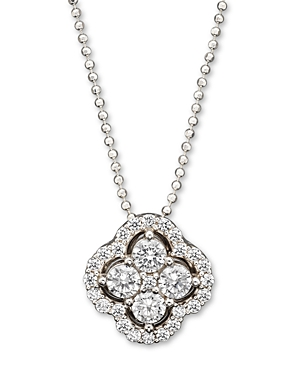 Diamond Cluster Pendant Necklace in 14K White Gold, .75 ct. t.w. - 100% Exclusive