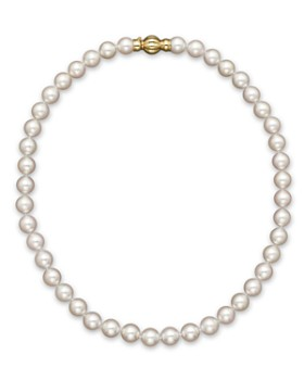 """Bloomingdale's - 14K Yellow Gold Cultured Akoya Pearl Necklace, 17""""- 100% Exclusive"""