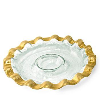 Annieglass - Ruffle Round Chip & Dip Server