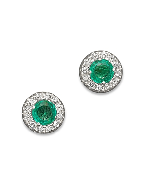 Emerald and Diamond Stud Earrings in 14K White Gold - 100% Exclusive