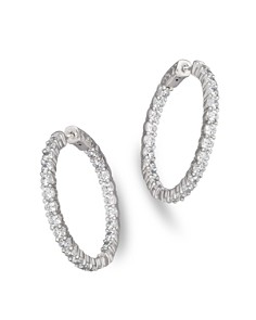 Bloomingdale's - Diamond Inside-Out Hoop Earrings in 14K White Gold, 4.0 ct. t.w. - 100% Exclusive