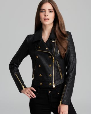 Burberry Nailton Leather Moto Jacket Women - Bloomingdale's