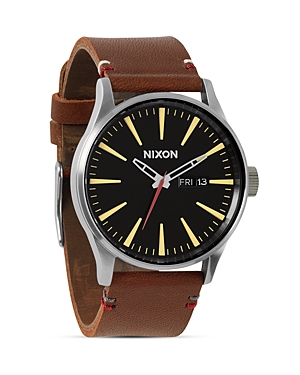 Nixon The Sentry Leather Watch, 42mm
