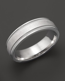 Bloomingdale's - Men's 14K White Gold Comfort Feel Engraved Wedding Band - 100% Exclusive