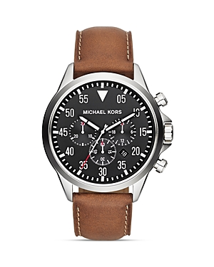 michael kors michael kors gage leather strap watch 45mm
