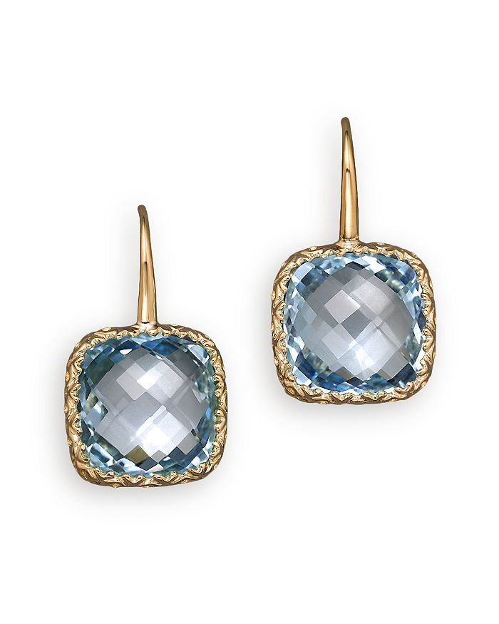 Bloomingdale's - 14K White Gold and Sky Blue Topaz Drop Earrings- 100% Exclusive