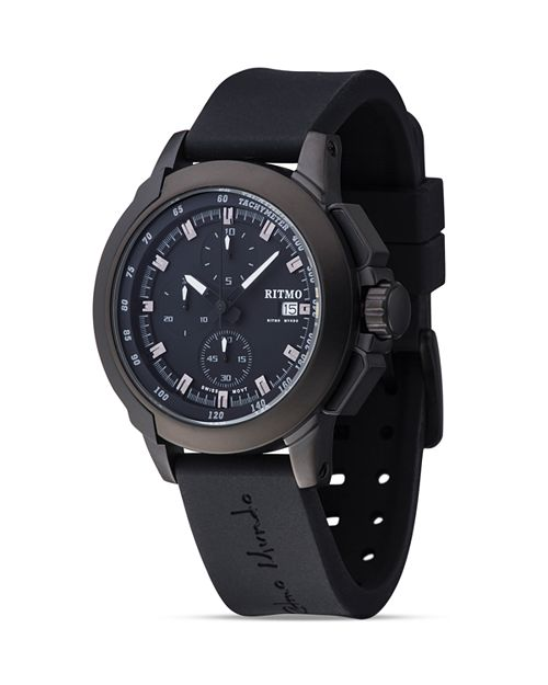 Ritmo Mundo - Quantum II Collection Stainless Steel and Black Aluminum Watch, 43mm