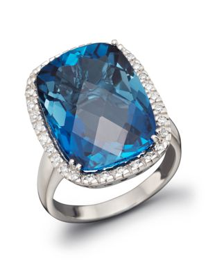 London Blue Topaz Cushion Ring with Diamonds in 14K White Gold - 100% Exclusive