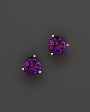 Amethyst Round Earrings in 14K Yellow Gold - 100% Exclusive