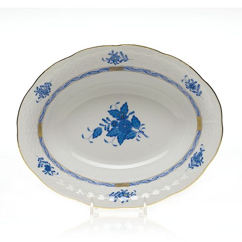 Herend - Chinese Bouquet Blue Oval Vegetable Dish