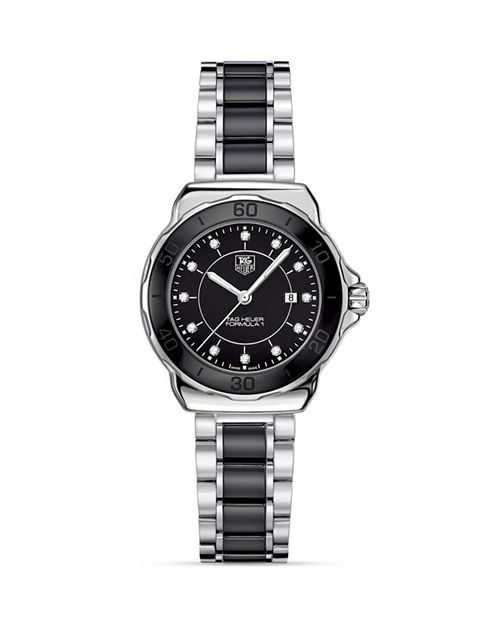 TAG Heuer - Formula 1 Stainless Steel and Black Ceramic Watch With Diamonds, 32mm